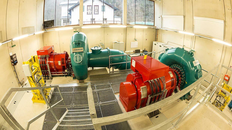 Foto der Francis Turbinen im Kraftwerk Stubenbergklamm